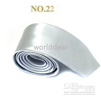 Wholesale New cm skinny mens plain necktie tie silver
