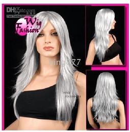 Wholesale Fashional Vogue fluffy silver gray color long Wavy bouncy synthetic wig wigs Q38