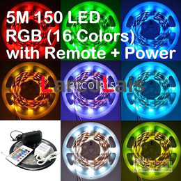 Waterproof 5M SMD 5050 RGB 150LED + Power + IR Remote Car Truck Flexible LED Strip Lights Light 150