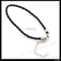 Wholesale Leather Plaited Bracelet Cords Black Color Plated Rhodium Lobster Clasp