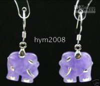 Silver Jade China-Tibet Wholesale - New beautiful Tibet silver blue jade elephant earrings