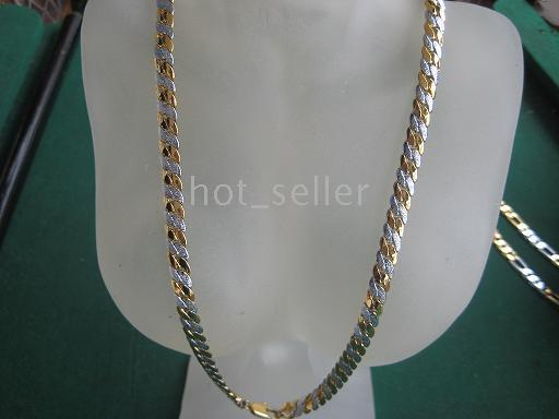 Wholesale Popular Fashion Handsome Men s Gift Jewelry KT Fine Yellow Gold GP Top Flat Chain Lin