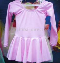 Elastic Girls Ballet Dance Dress Leotard long sleeve skate dress 10pcs lot Mixed color #1749