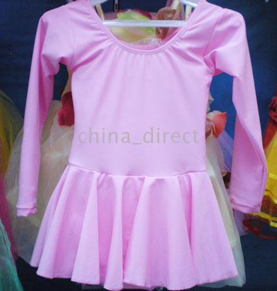 Wholesale Elastic Girls Ballet Dance Dress Leotard long sleeve skate dress Mixed color