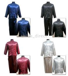 Wholesale Solid plain Martial Art suits Chinese Kungfu sets Tai Suit silk uniform Tops Pants new