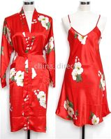 Wholesale Ladies womens Silk Satin Pajama Lingerie Sleepwear Robe Kimono pjs
