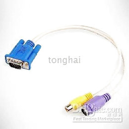 VGA to TV S-VIDEO RCA Adapter Converter Cable Laptop PC Sku804