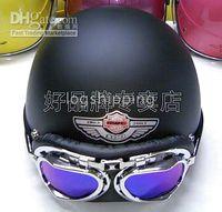Wholesale ABS Scooter Half Motorcycle Open Face Matte Black Helmet Casco amp Color Goggles M L XL