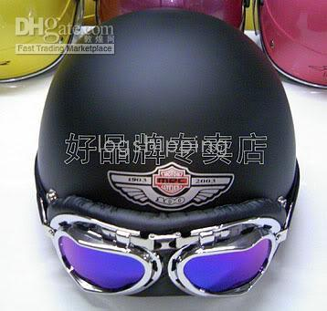 Wholesale ABS Scooter Half Casco Casque Scooter Motorcycle Open Face Matte Black Helmet Casco Color Goggles M L XL