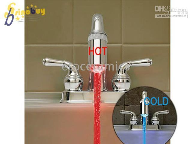 Wholesale Water Faucet color change Blue cold Red hot Led Light