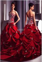 Wholesale CHRISMAS Dress Red Wedding Dresses Bridal Ball Gown Custom Chapel Train Jobridal Custom Made Xmas