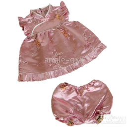 girls' sets girls' suits baby dresses girls' dresses Chinese silk QIPAO 4 colors XX01