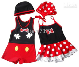 Wholesale Kids Swimsuits minnie Swimwear suits sets rompers Cap mickey swimwears kids beachwears suit CL306