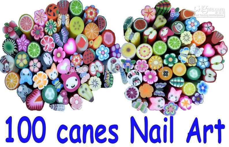 fimo canes - 100 Canes pc Fruit Slice Nail Art Decoration UV Tips