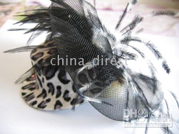 Womens Feather Fascinator hat hair clips Bows Veil Bow Feather Barrette 40pcs lot #2090