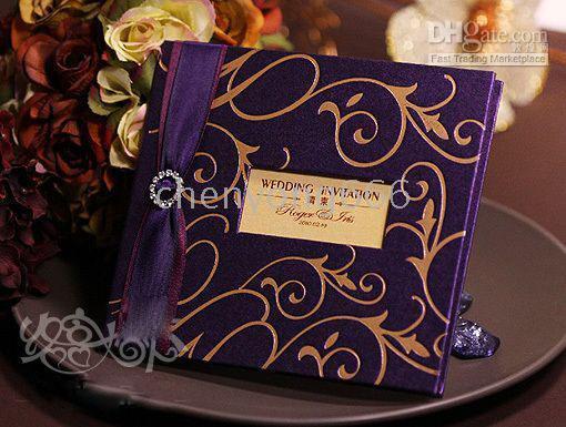 Folded embossed wedding invitations - wedding card Wedding invitation purple color card with gold embossed printing