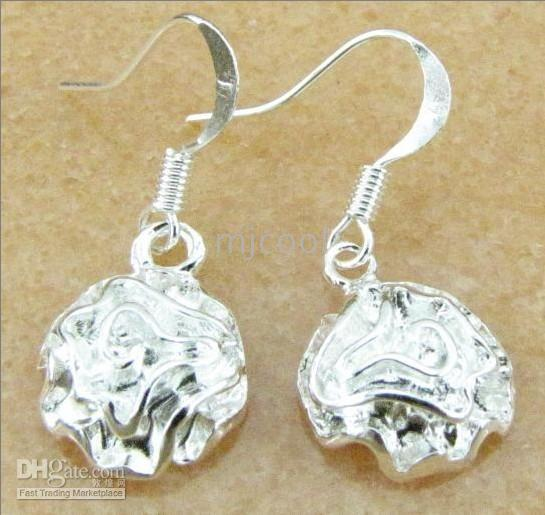 Wholesale and retail Silver Rose pendant earrings