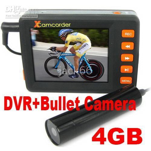 Wholesale 2 Inch Screen Digital Video Recorder Mini Bullet CCD Camera GB card DVR camera