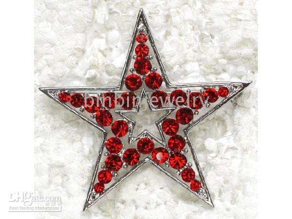 Other costume brooch jewelry - C779 Red multiple color choice Crystal Rhinestone Star Fashion Costume Pin Brooch jewelry gift