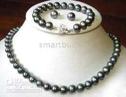 tahitian 8-9 mm black pearl necklace 18inches bracelet 7.5inches earring