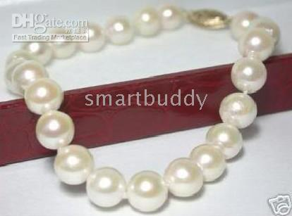 9-10mm south sea white pearl bracelet 7.5 inches