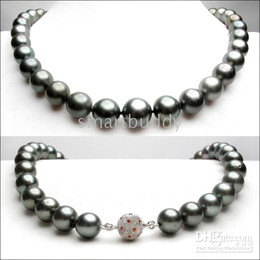 BLACK-GRAY ROUND 10MM-11MM TAHITIAN SEA PEARL NECKLACE 19inches 925silver clasp