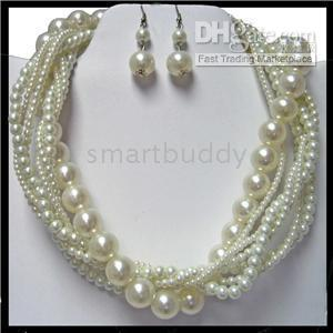 Wholesale GENUINE ROW SOUTH SEA MM WHITE PEARL UNITE NECKLACE AAA SILVER ER