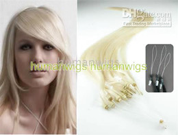 Wholesale 500S quot Remy Micro rings loop Hair Extensions lightest blonde g stand mix order
