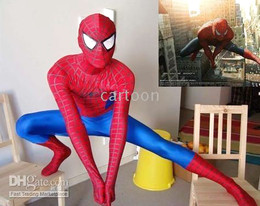 Wholesale Red and Blue Spiderman Tights lycra Zentai Costume Free S H