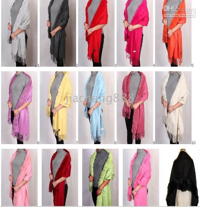 Wholesale New Rabbit Fur pashmina Shawl Cashmere scarf shawl cape wraps shawls poncho THICK A3