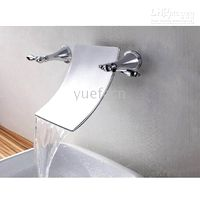 Waterfall Chrome Ceramic Wall Mounted Bathroom Sink Faucet 3 Hole Double Handle Basin Mixer Taps (R-2001)