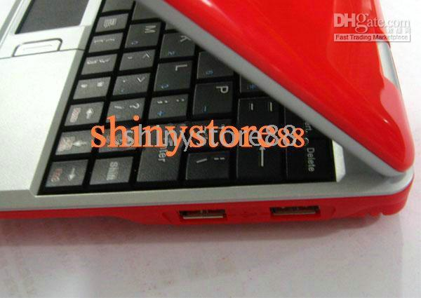 2PC * Wholesale-Red couleur 7 pouces Mini Netbook Laptop Notebook 2 Go WIFI windows ce 6.0 / Android4.0 Netbook PC