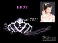 Wholesale Fashion Crown Hair Ornaments Simulated Diamond Crystal Bridal Wedding Crown KR07