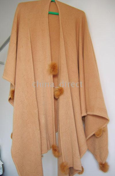 rabbit fur wrap - Rabbit fur ball fringed Scarves ponchos scarf shawl pashmina wraps shawls new