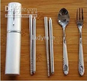 Wholesale Folding tableware pen environmental protection tableware scoop fork chopsticks