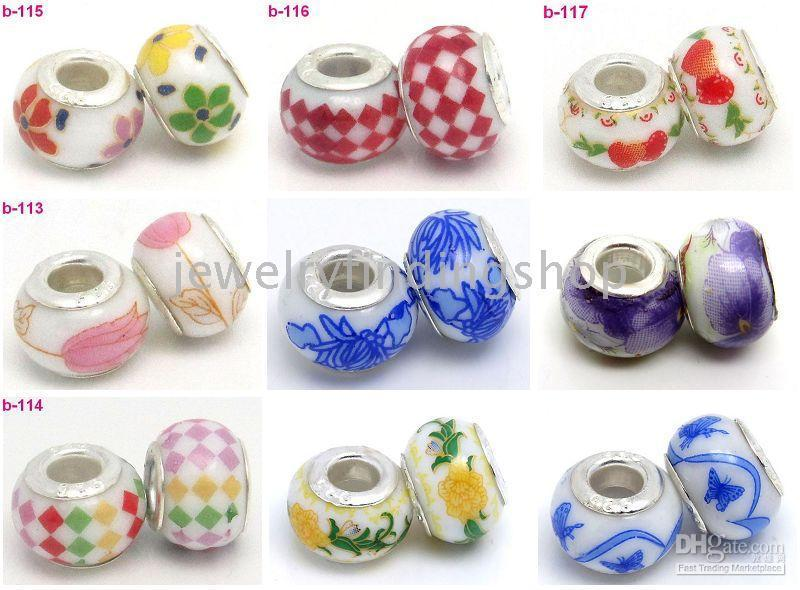 Wholesale sivler plated procelain colorful beads Fit bracelets mixed