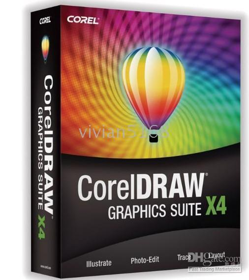 Wholesale 3pcs Coreldraw Graphics Suite X4 CORELDRAW FULL VERSION hot selling dorp shipping vivian5168