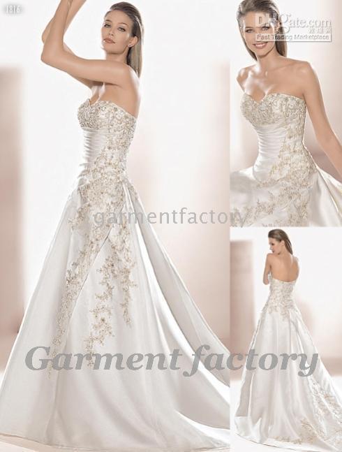 Floor-length 2010 wedding dresses - modern bride dresses ivory sweetheart beading custom made wedding dress