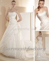 Wholesale trendy wedding dress gown style strapless crystal tulle custom made bride dresses