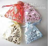 Wholesale MIXED Organza Voile Rose Jewelry Gift Bags Pink Yellow Red Blue