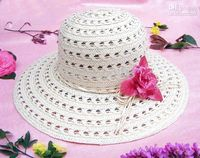 Wholesale 37cm Knitted Paper Grass Ladies Sun hat with Flower Wide Brim a