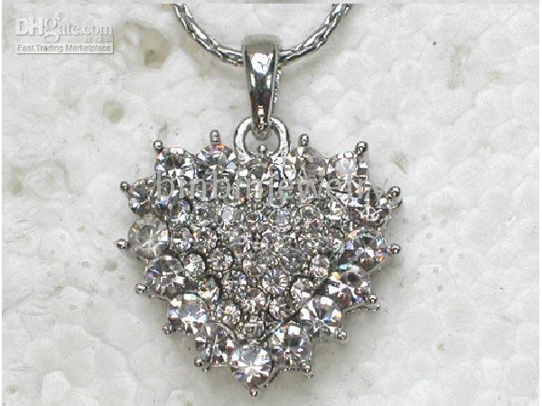 Wholesale F164 Crystal Rhinestone Heart Necklaces Pendants Chains fashion jewelry gift