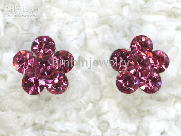 Wholesale MULTICOLOUR FASHION CRYSTAL PIERCED FLOWER EARRING WEDDING PARTY PROM JEWELRY GIFT A041