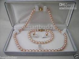 Fine Natural 7-8MM Akoya Pink Pearl Necklace Bracelet Earrings SET 14K