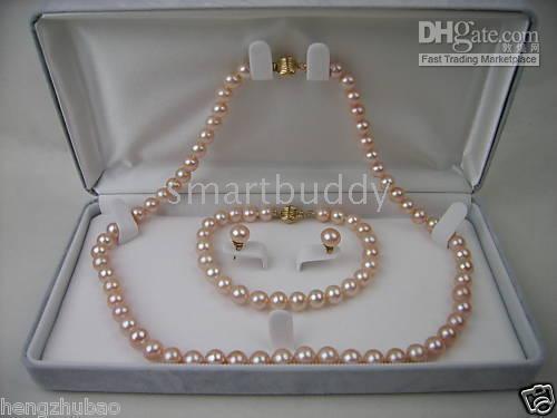 akoya pearl set - AAAA7 MM Akoya Pink Pearl Necklace Bracelet Earrings SET K