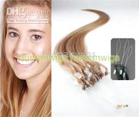 Wholesale 500S quot Micro rings loop hair remy Human Hair Extensions hair extension g stand mix order