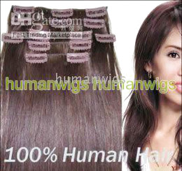 Wholesale 18 quot quot set clip in hair remy human hair extension hair extension g set set