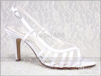 Wholesale Cute White Satin Wedding Shoes with Delicate Diamante Buckle Evening Shoes Party Shoes