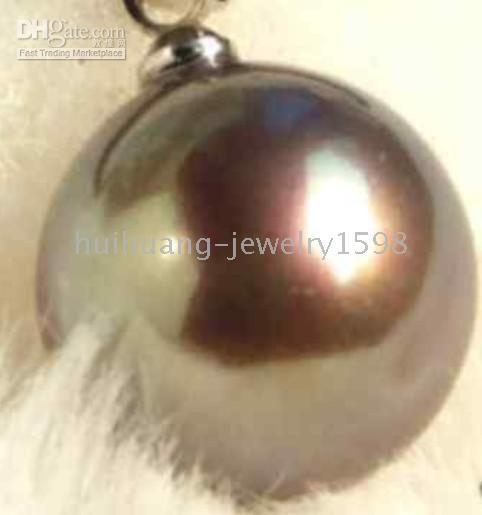 Wholesale AAA mm natural chocolate shell pearl pendant chain
