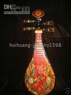 "Cheap Chinese Old stringed musicl tool""Pi pa""carved wood lute (20)"